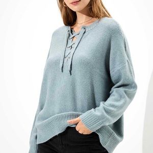 American Eagle SZ M Blue Oversized Lace Up Sweater